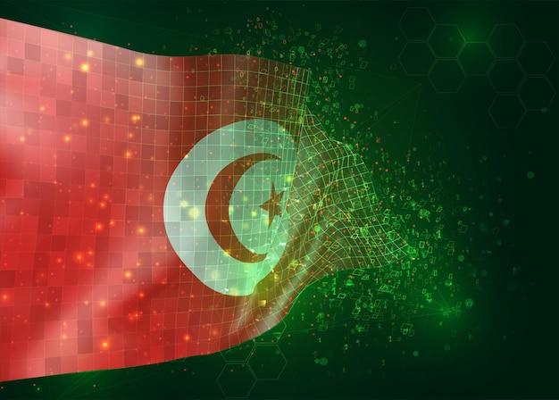 Tunesië, op vector 3d vlag op groene achtergrond met veelhoeken en gegevensnummers