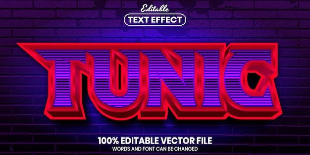 Tuniektekst, bewerkbaar teksteffect in lettertypestijl