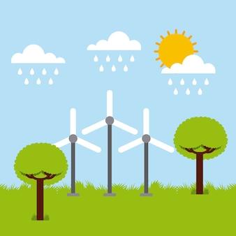 Turbine slingert ecologiebomen die de zon van de hemelwolk regenen
