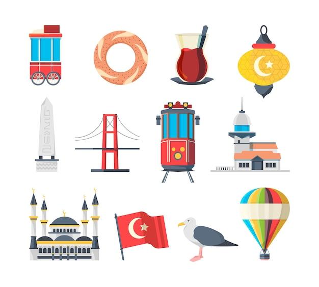Turkije bezienswaardigheden. reizigers set van istanbul culturele objecten en moslim gebouwen nationale moskee vector foto's collectie. illustratie istanbul landmark, turkije cultuur reizen