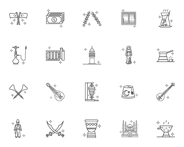 Turkije cultuur en tradities schetsen iconen set