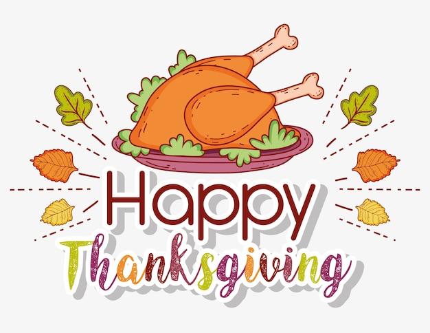 Turkije eten en herfstbladeren naar thanksgiving-viering