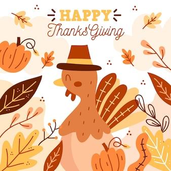 Turkije met bladeren thanksgiving achtergrond