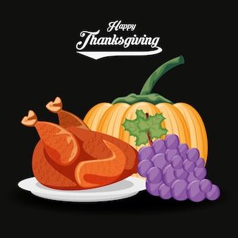 Turkije met druiven en pompoen van thanksgiving day
