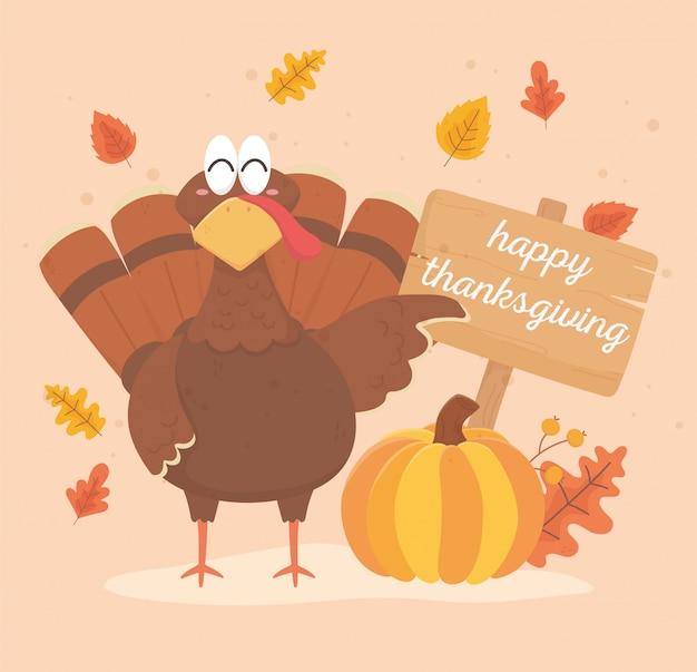 Turkije met pompoen en boord gelukkige dankzeggingsviering