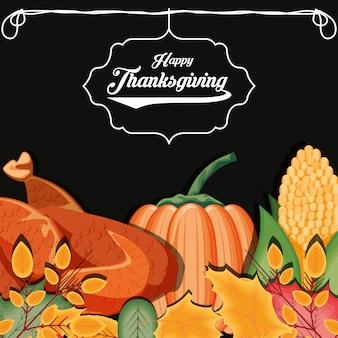 Turkije met pompoen en maïskolf van thanksgiving day