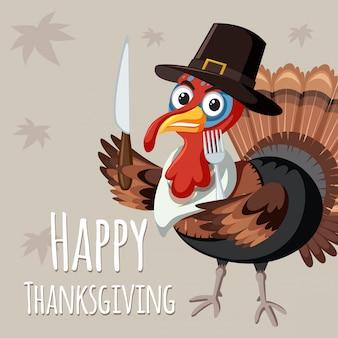 Turkije op thanksgiving-sjabloon