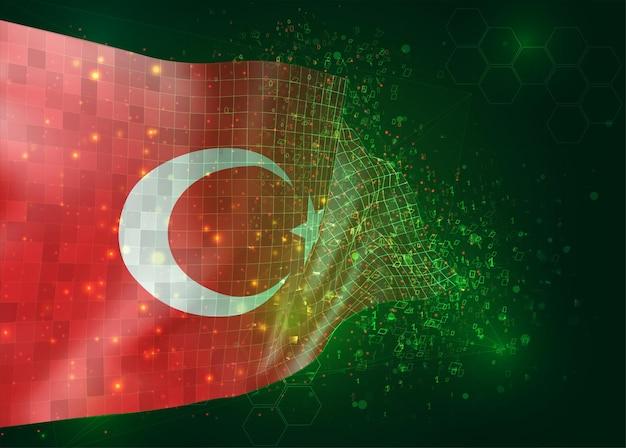 Turkije op vector 3d vlag op groene achtergrond met veelhoeken en gegevensnummers