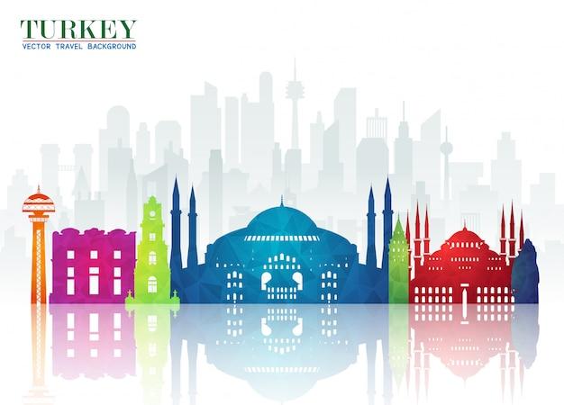 Turkije oriëntatiepunt wereldwijde reizen en reis paper achtergrond