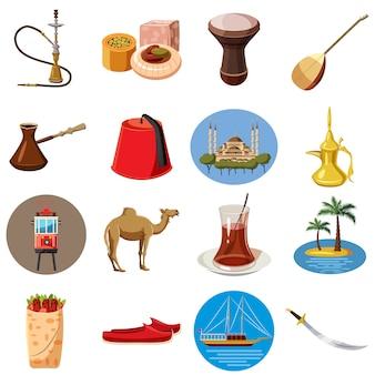 Turkije reizen pictogrammen instellen, cartoon stijl