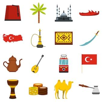Turkije reizen pictogrammen instellen in vlakke stijl