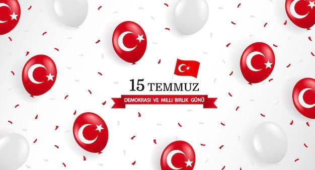 Turkije vakantie. vertaling uit het turks: dag van de nationale eenheid voor democratie turkije, 15 juli.