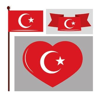 Turkije vlaggen set