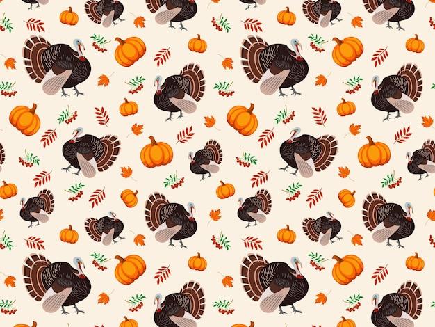 Turkije vogel pompoen bladeren en bessen vector naadloze patroon voor thanksgiving vakantie