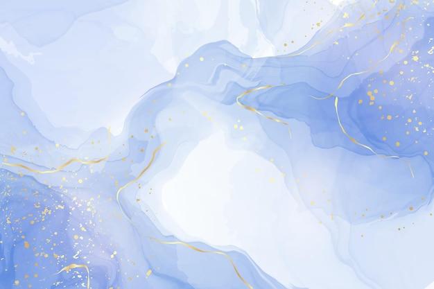 Turkoois en blauwgroen blauwe vloeibare aquarelachtergrond met gouden glitterlijnen