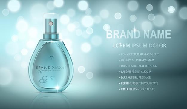 Turkooise realistische parfumfles die op de fonkelende gevolgenachtergrond wordt geïsoleerd. tekstsjabloon