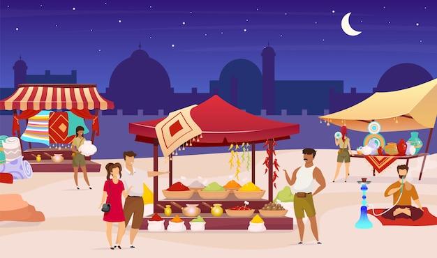 Turkse avondmarkt kleur illustratie. arabische bazaar, straatmarkt. toeristen, buitenlanders die souvenirs kopen, specerijen gezichtsloze stripfiguren met luifels op de achtergrond