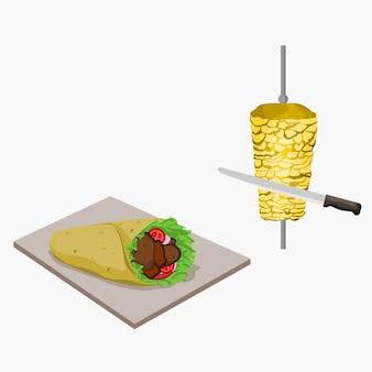 Turkse kebab illustratie