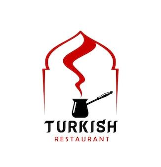 Turkse keuken restaurant vector icoon met cezve
