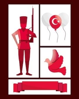 Turkse overwinning onafhankelijkheid pictogrammen