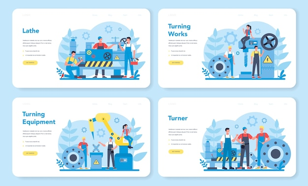 Turner of draaibank web-bestemmingspagina-set. fabrieksarbeider met behulp van draaimachine om metalen detail te maken. metaalbewerking en industriële fabricage. geïsoleerde platte vectorillustratie