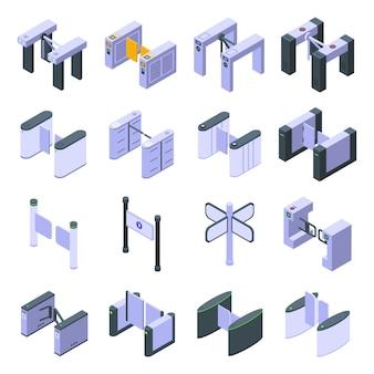 Turnstile iconen set, isometrische stijl