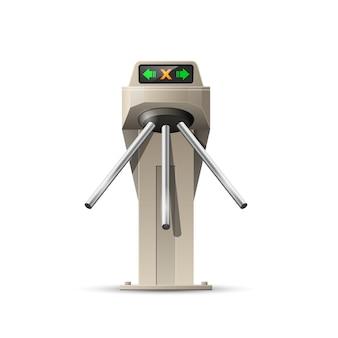 Turnstile kaartingang - beveiligingssysteem van toegang tot het metrostation