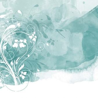 Turquoise aquarel bloemen achtergrond