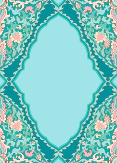 Turquoise bloemmotief.
