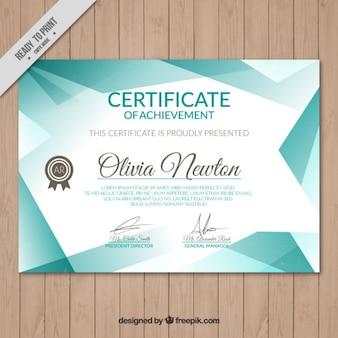 Turquoise certificaat