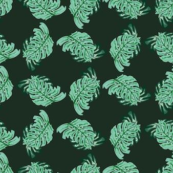 Turquoise creatieve monstera palmbladeren ornament naadloos patroon. donkere achtergrond. natuur afdrukken.