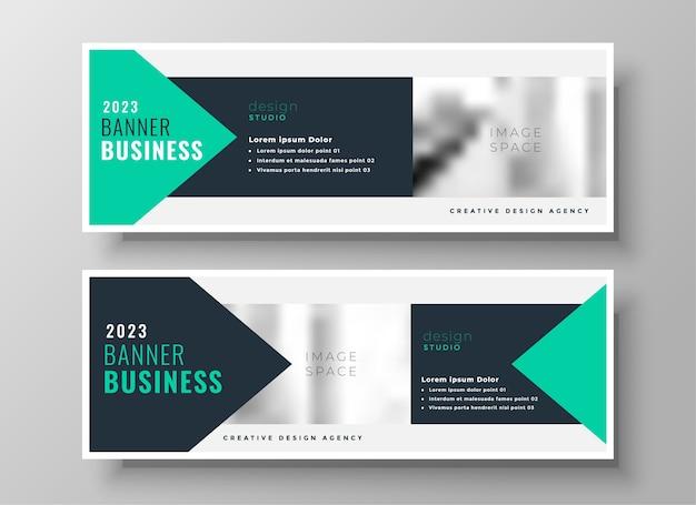 Turquoise geometrische zakelijke facebook-omslag of koptekst ontwerpsjabloon