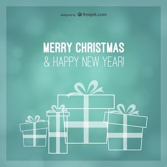 Turquoise kerstgroeten kaart