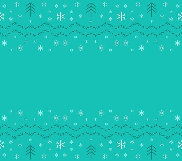 Turquoise kerstmis minimale naadloze achtergrond framerand versierd met witte zigzaglijnen eenvoudige boom en sneeuwvlokken. ontwerp voor behang, stof, webbanner, inpakpapier. vector illustratie