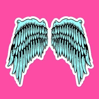 Turquoise vleugels sticker overlay met een witte rand
