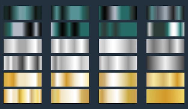 Turquoise, zilver en goud metallic folie textuur set.