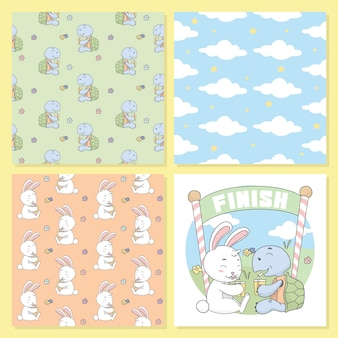 Turtle and rabbit drink, cloud seamless pattern.