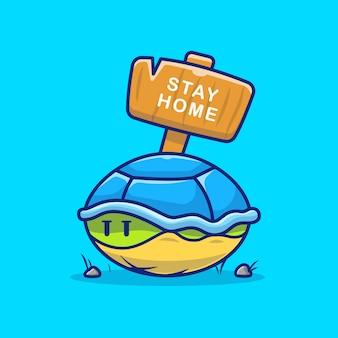 Turtle in shell illustratie. blijf thuis mascotte stripfiguur. dier geïsoleerd