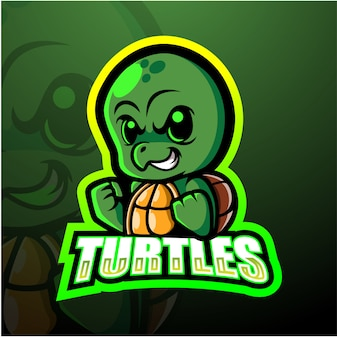 Turtle mascotte esport illustratie