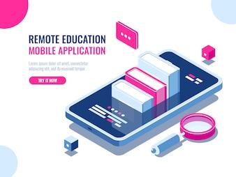 Tutorial over applicatie voor mobiele telefoons, online onderwijs, internetcursus, data zoeken