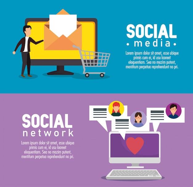 Tv en computer met sociale chat bubbels berichten