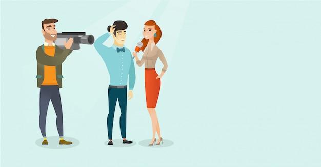 Tv-interview vectorillustratie cartoon.