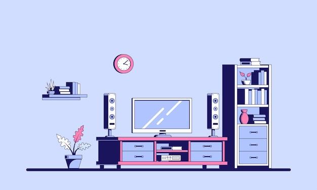 Tv-kamer met meubilair. vlakke stijl illustratie van een kamer interieur met grote plasma-tv.