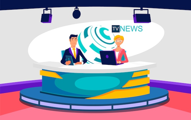 Tv live nieuws show studio illustratie