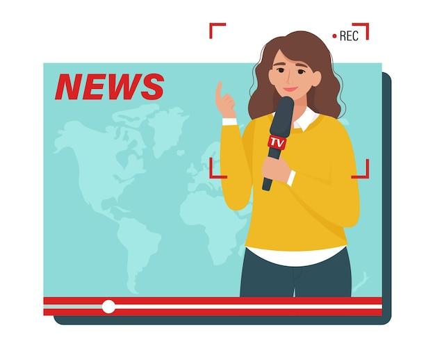 Tv media nieuws. vrouwelijke journalist met een microfoon in het vak voor videoweergave. illustratie in vlakke stijl