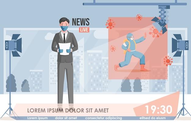 Tv-nieuws anchorman in beschermend gezichtsmasker las breaking news