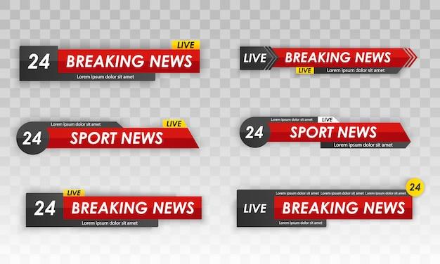 Tv nieuwsbalk. televisie-uitzending media titel banner. live televisie-uitzending, streaming show. sport nieuws. logo's, nieuwsfeeds, televisie, radiokanalen. illustratie.