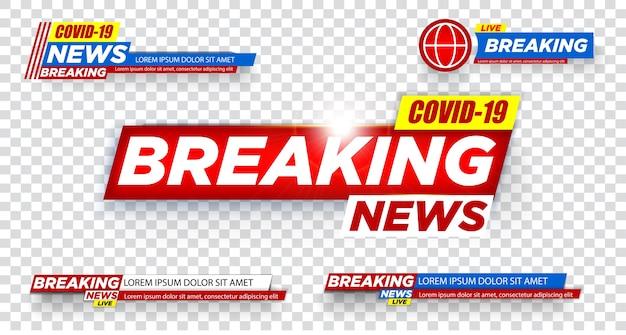 Tv-nieuwsbalken ingesteld. nieuws lower thirds-pakket. tv-nieuwsbalken instellen vector. uitbraak van het coronavirus uitgeroepen tot pandemie.
