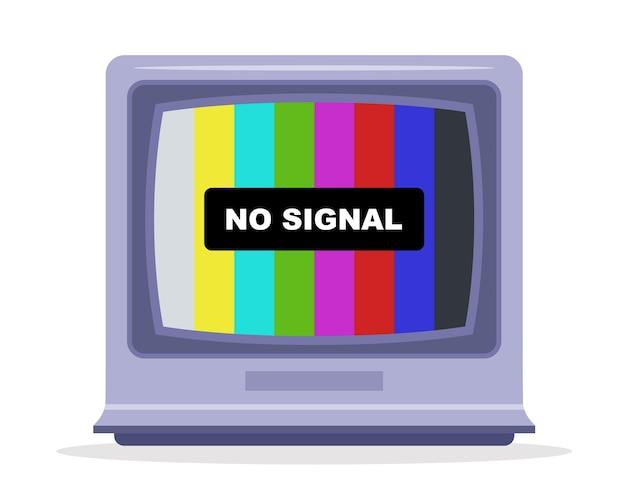Tv ontvangt geen tv-signaal. monitor met een regenboog. platte vectorillustratie.