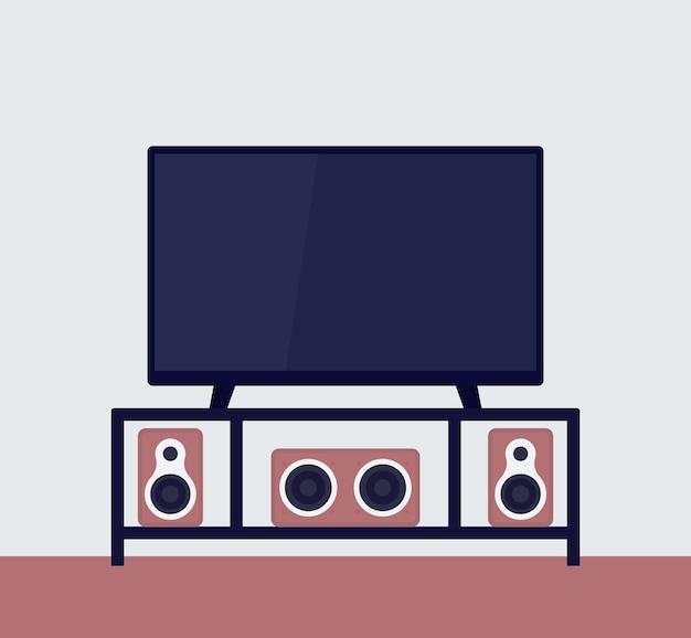 Tv op de standaard met audiosysteem, vectorillustratie